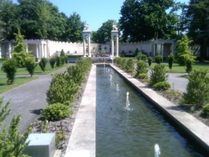 Inside the walled garden, looking north at the amphitheater