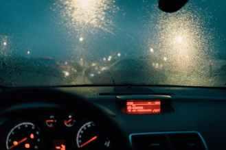 photo of windshield during rainy weather